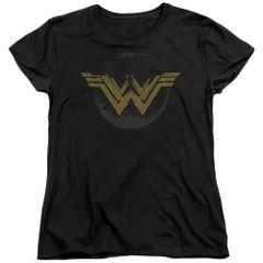 Wonder Woman Distressed Logo Black Short Sleeve Womens T-shirt