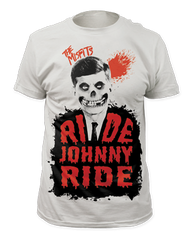 The Misfits Ride Johnny Ride White Sublimation Print Short Sleeve Adult T-shirt