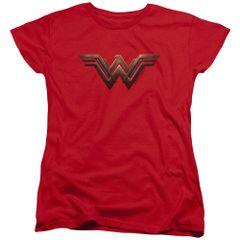 Wonder Woman Logo Red Cotton Short Sleeve Womens T-shirt