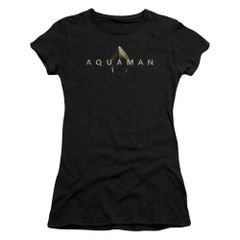 Aquaman Logo Black Short Sleeve Junior T-shirt