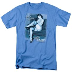 Bettie Page Get A Leg Up Carolina Blue Short Sleeve Adult T-shirt