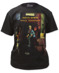 David Bowie Ziggy Plays Guitar Black Cotton Short Sleeve Adult T-shirt