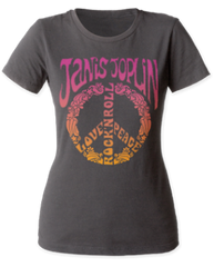 Janice Joplin Peace Heavy Metal Grey Short Sleeve Women's T-shirt