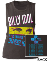 Billy Idol Rebel Yell 84' Tour Black Women's Muscle Tank Top T-shirt