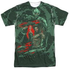 Aquaman Good and Evil White Short Sleeve Front and Back Print Adult T-shirt
