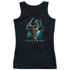 Aquaman Trident Black Junior Tank Top T-shirt