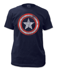 Captain America Distressed Shield Navy Short Sleeve Adult T-shirt
