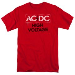AC/DC High Voltage Stencil Red Short Sleeve Adult T-shirt