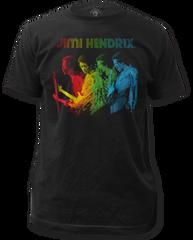 Jimi Hendrix Rainbow Black Short Sleeve Adult T-shirt