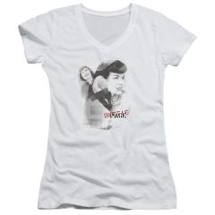 Bettie Page Transparent Bands White Short Sleeve V-Neck Junior T-shirt