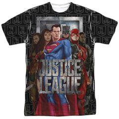 Justice League The League White Sublimation Print Short Sleeve Adult T-shirt