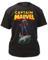 Captain Marvel Astroid Black Short Sleeve Adult T-shirt