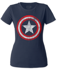 Captain America Distressed Shield Navy Short Sleeve Womens T-shirt