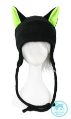 Black Cat Hat - Neon Green Ears