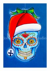 Santa Hat sugar skull set of 12 Holiday blank greeting cards if interested in mixed set of 12 please message me with details