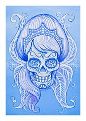 Snow Sugar skull set of 12 Holiday blank greeting cards if interested in mixed set of 12 please message me with details