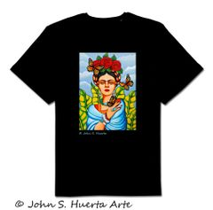 Frida with Butterflies 100% cotton unisex black
