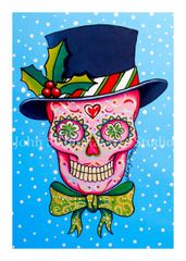 Top Hat sugar skull set of 12 Holiday blank greeting cards if interested in mixed set of 12 please message me with details