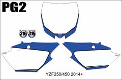 Yamaha YZF250 2014-2018 YZF450 2014-2017 YZ250/450FX 2016-2018 Numberplate Decals PG2