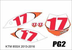 KTM 85/105 2013-2016 PG2 Numberplate Decals