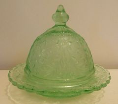 Tiara Exclusives Chantilly Green Butter Dish and Cover