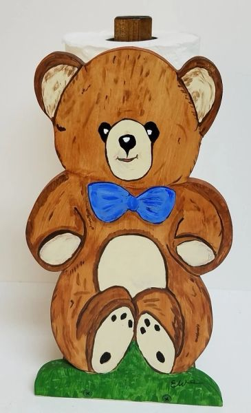 Wooden Teddy Bear Paper Towel Holder, Handcrafted | Savannah Rivers ...