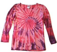 Women's Outdoor Panda long sleeve bamboo Wild Berries Tie-dye V