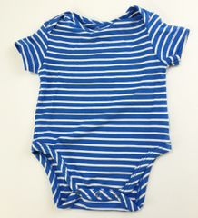 baby onesie short sleeve light blue/white stripes (size xs)