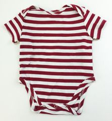 baby onesie short sleeve red/white stripes