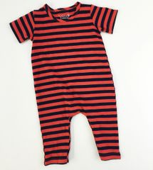 baby romper short sleeve orange/navy stripes