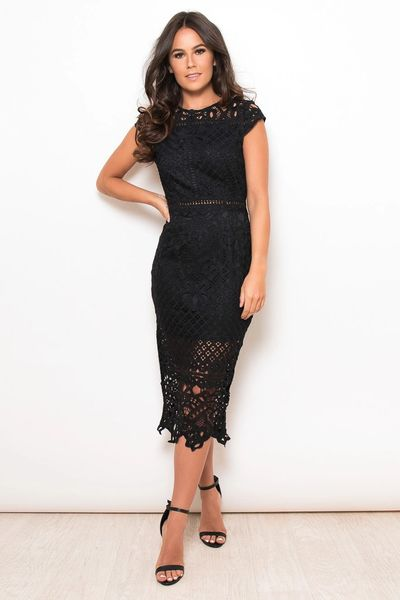Black Lace Cap Sleeve Midi Dress Love It Boutique
