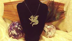 Silver Glitter Silver Dragon Pendant