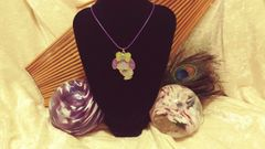 Cute Kawaii Purple Bunny Glitter Resin Pendant on Blue Cord