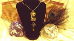 Black Rose, Skull, Large Hanging Key, Tall Resin Pendant