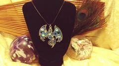 Silver Blue Gem Phoenix Pendant