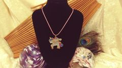 Cute Kawaii Unicorn and Bunny Glitter Resin Pendant on Pink Cord