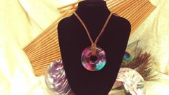Purple, Blue, Pink, and White Resin pendant on Suede Cord