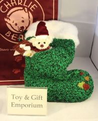 HALF PRICE! Charlie Bears TREE GREEN Christmas Sock & Miniature Bear (Limited to 3000)
