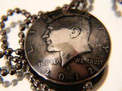 Kennedy Half Dollar Pendant with chain or keychain