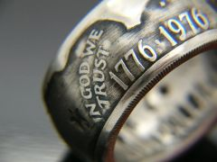 1776/1976 IKE Silver Dollar Bicentennial Coin Ring