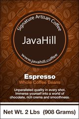 Java Hill Signature Artisan Coffee - Whole Bean Espresso (2 lbs / 1 kg)