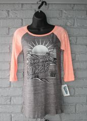 Seven Miles of Sunsets 3/4 Sleeve Tee (Dark Heather/Coral)