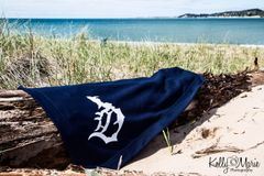 Detroit Michigan D Beach Blanket (navy)