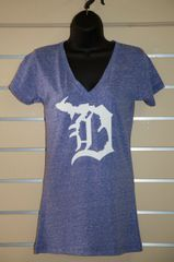 Detroit Michigan D Vneck (Surfer Blue)