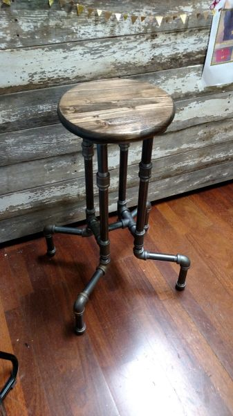 Industrial Black Iron Pipe Bar Stool Barnboards And Salvage