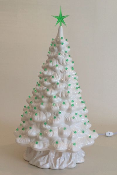 21 Inch Large White Christmas Tree Clay Forge