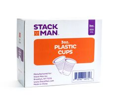 Stack Man 3 oz. Plastic Cups, Bulk - (500/Case)