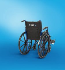 "Ridex Blue Streak Wheelchair with Elevating Leg Rests, Flip Back Desk Arms, 18"" Seat"