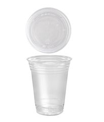 A World of Deals 100 Sets 16 oz. Plastic CLEAR Cups with Flat Lids for Iced Coffee Bubble Boba Tea Smoothie