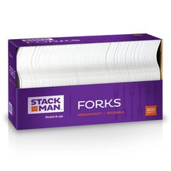 Stack Man Medium Weight White Plastic Fork - 400 / Case